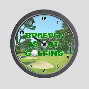 Braeden is Out Golfing (Green) Golf Wall Clock