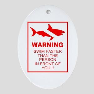 Shark Warning Oval Ornament
