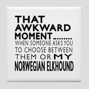 wkward Norwegian Elkhound Dog Designs Tile Coaster