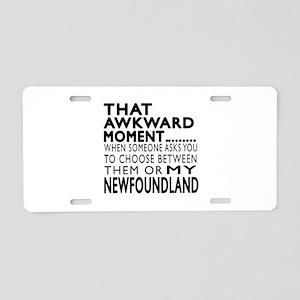 Awkward Newfoundland Dog De Aluminum License Plate