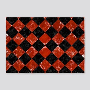 SQUARE2 BLACK MARBLE & RED MARBLE 5'x7'Area Rug