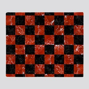 SQUARE1 BLACK MARBLE & RED MARBLE Throw Blanket