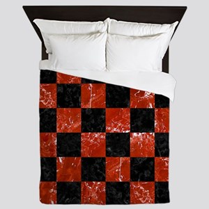 SQUARE1 BLACK MARBLE & RED MARBLE Queen Duvet