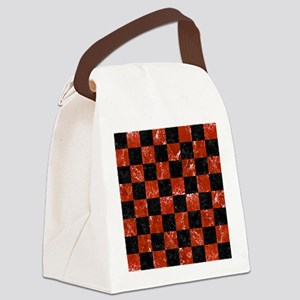 SQUARE1 BLACK MARBLE & RED MARBLE Canvas Lunch Bag