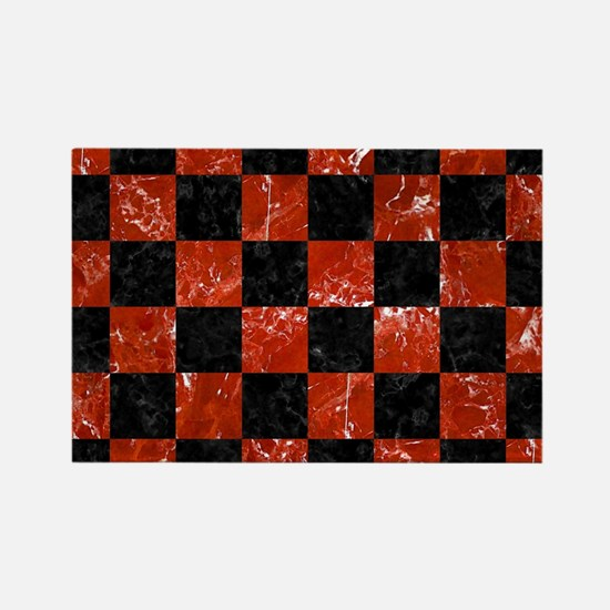 SQUARE1 BLACK MARBLE & RED MARBLE Rectangle Magnet