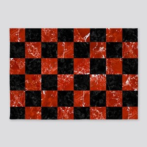 SQUARE1 BLACK MARBLE & RED MARBLE 5'x7'Area Rug