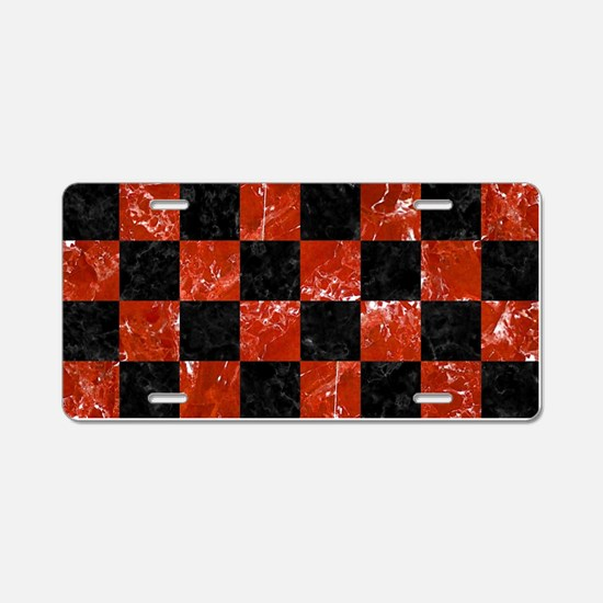SQUARE1 BLACK MARBLE & RED Aluminum License Plate