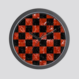 SQUARE1 BLACK MARBLE & RED MARBLE Wall Clock