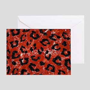 SKIN5 BLACK MARBLE & RED MARBLE Greeting Card