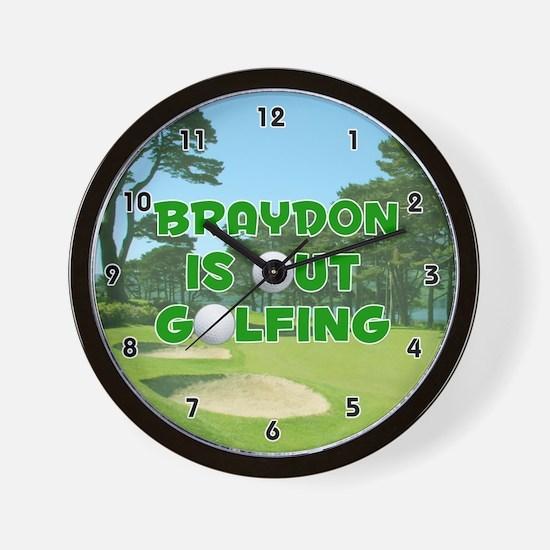 Braydon is Out Golfing (Green) Golf Wall Clock