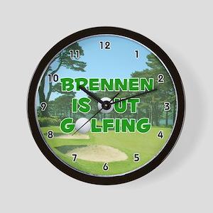 Brennen is Out Golfing (Green) Golf Wall Clock