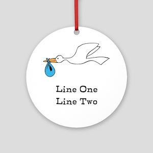 Stork New Baby Custom Two Line Design Round Orname