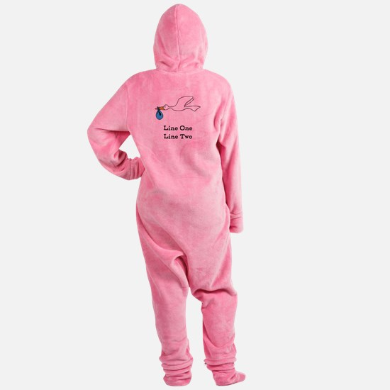 Stork New Baby Custom Two Line Design Footed Pajamas