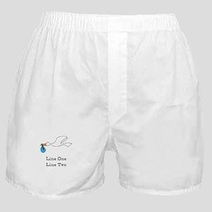 Stork New Baby Custom Two Line Design Boxer Shorts