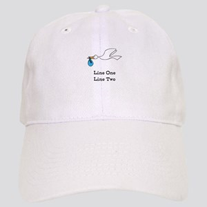 Stork New Baby Custom Two Line Design Baseball Cap