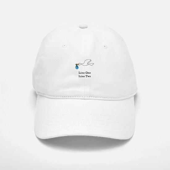 Stork New Baby Custom Two Line Design Baseball Baseball Baseball Cap