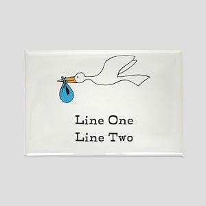 Stork New Baby Custom Two Line Design Magnets