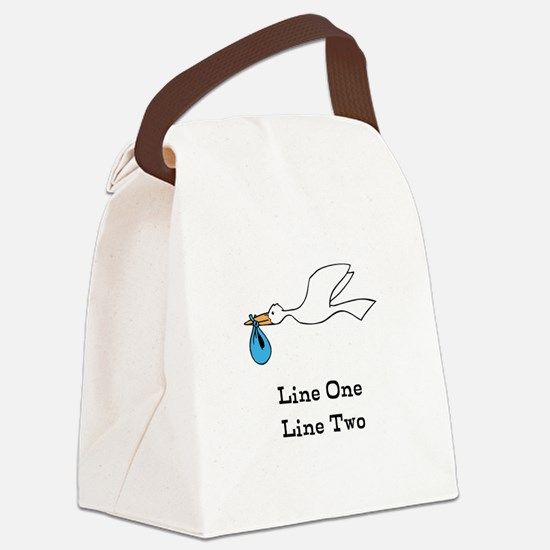 Stork New Baby Custom Two Line Design Canvas Lunch