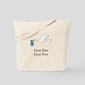 Stork New Baby Custom Two Line Design Tote Bag