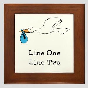 Stork New Baby Custom Two Line Design Framed Tile