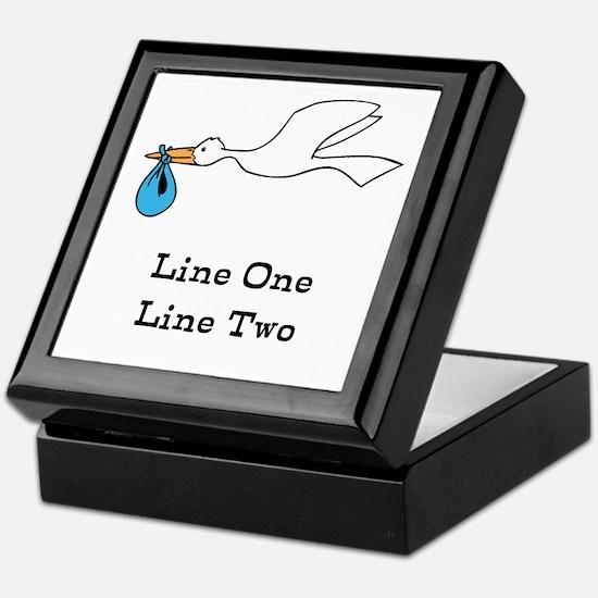 Stork New Baby Custom Two Line Design Keepsake Box