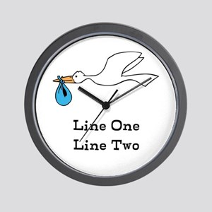 Stork New Baby Custom Two Line Design Wall Clock