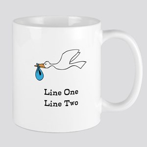 Stork New Baby Custom Two Line Design Mugs