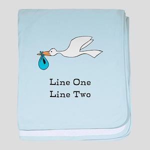 Stork New Baby Custom Two Line Design baby blanket