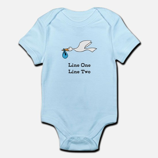 Stork New Baby Custom Two Line Design Body Suit