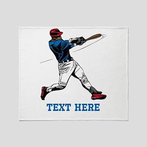 Custom Text Baseball Design Throw Blanket
