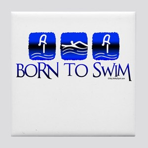 BORN TO SWIM Tile Coaster