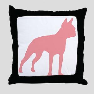 Boston Terrier Retro Pink Throw Pillow