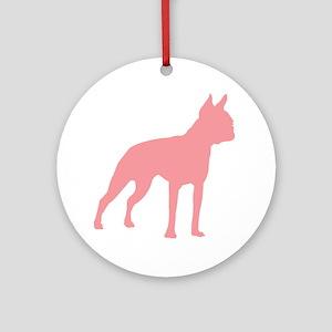 Boston Terrier Retro Pink Ornament (Round)