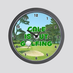 Cale is Out Golfing (Green) Golf Wall Clock
