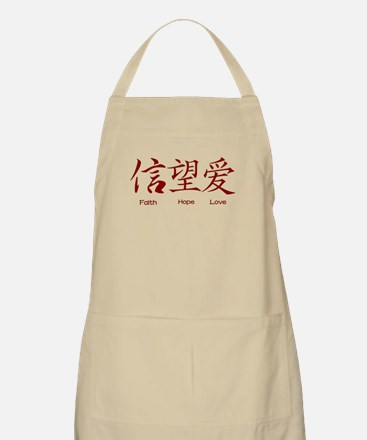 Faith Hope Love in Chinese Apron