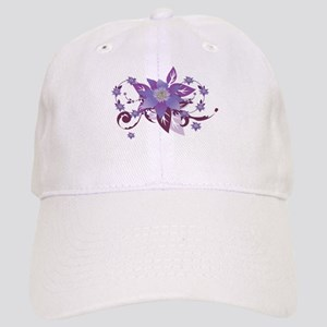 purple flower swirl Cap