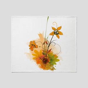 Autumn Wildflowers Throw Blanket