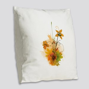 Autumn Wildflowers Burlap Throw Pillow