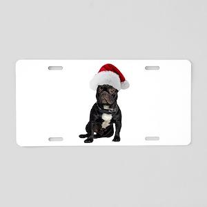 French Bulldog Santa Aluminum License Plate