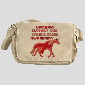 Unicorns Support Substance Abuse Awa Messenger Bag