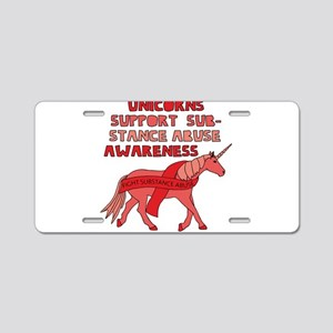 Unicorns Support Substance Aluminum License Plate