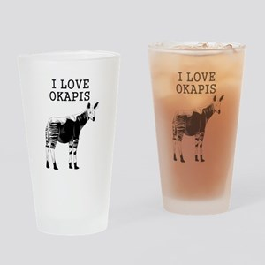 I Love Okapis Drinking Glass
