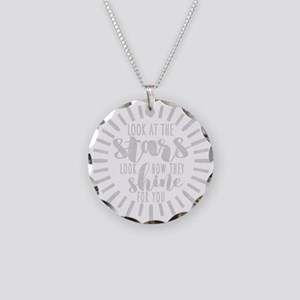 Shining Stars Cute Typograph Necklace Circle Charm