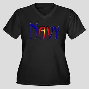 Navy Women's Plus Size V-Neck Dark T-Shirt
