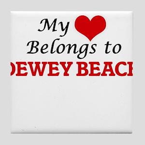 My Heart Belongs to Dewey Beach Delaw Tile Coaster