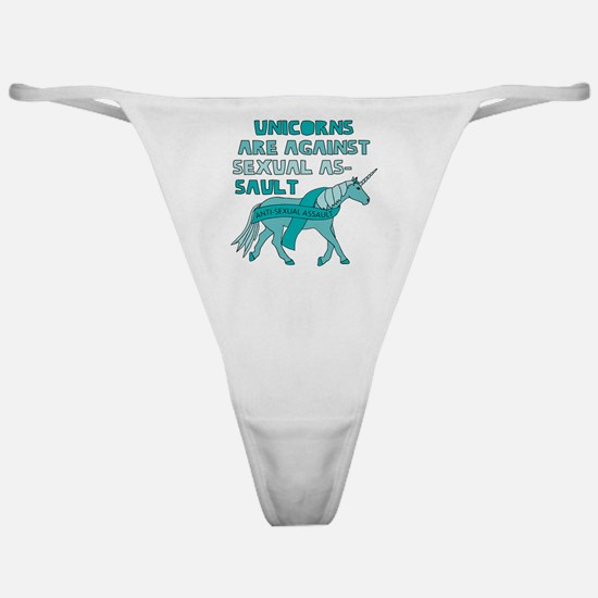 Unicorns Are Against Sexual Assault Classic Thong