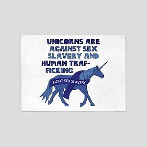 Unicorns Are Against Sex Slavery An 5'x7'Area Rug
