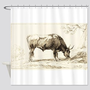 A Cow Grazing by Hendrik Voogd Shower Curtain