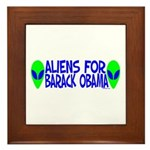 Aliens For Barack Obama Framed Tile