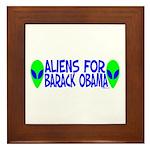 Aliens For Barack Obama Framed Tile